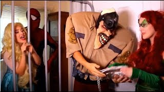 Frozen elsa and Spiderman arrested by police