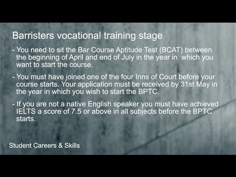Barristers vocational training stage (Routes into Law: Part 14/23)