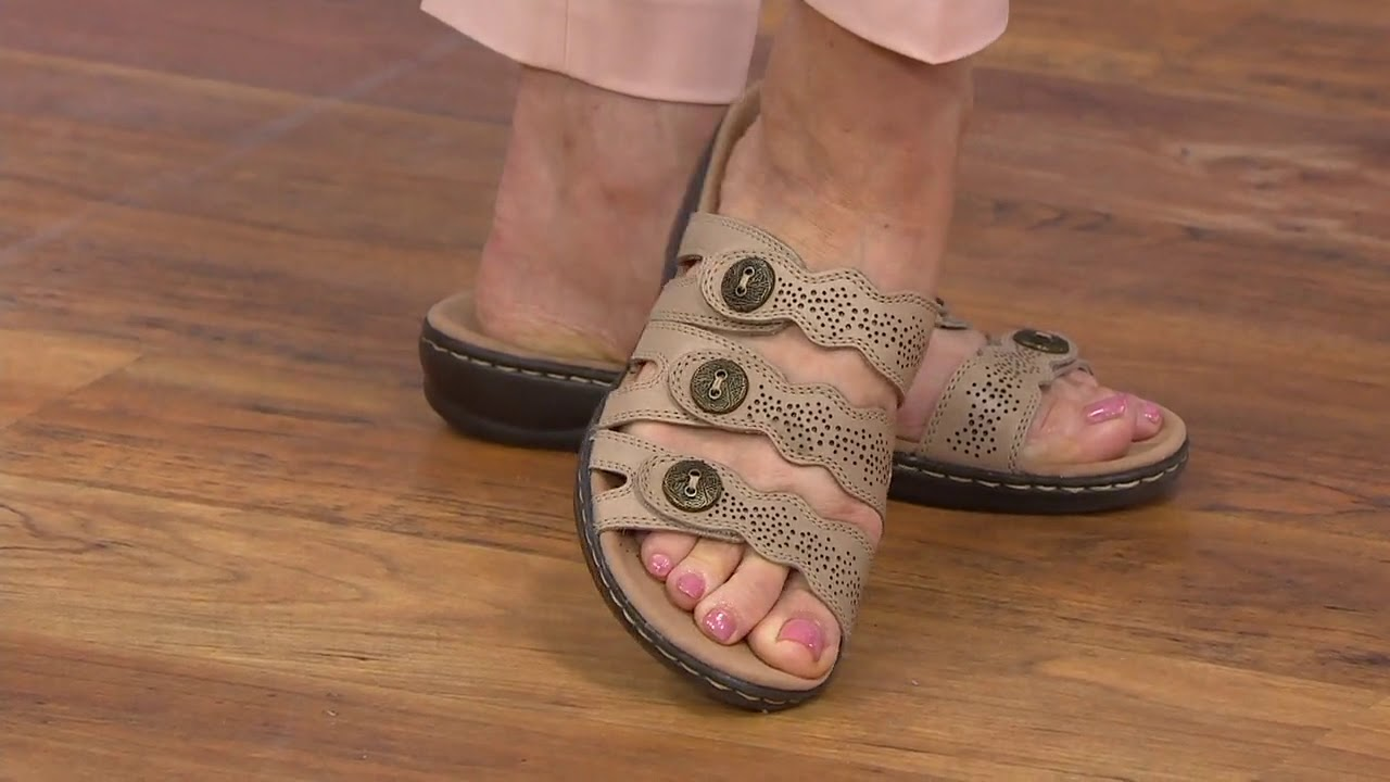hot-selling real watch shopping Clarks Leather Lightweight Triple Adjust Sandals - Leisa Grace on QVC