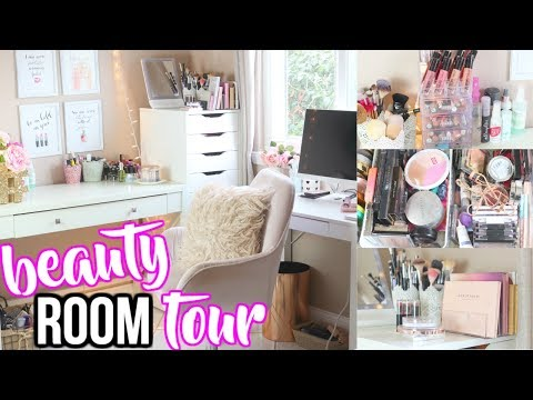 DINING ROOM TO BEAUTY ROOM! | BEAUTY ROOM TOUR 2017 MAKEUP STORAGE AND ORGANIZATION