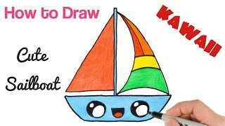 How to Draw  Cute Sailboat for kids step by step