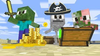 Monster School: BABY PIRATE HUNTING TREASURE CHALLENGE - Funny Animation