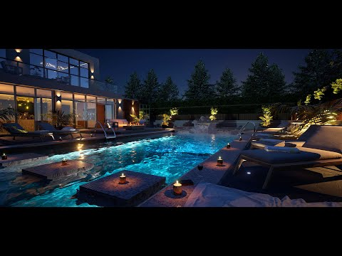 Relax By A Private Luxury Pool At An Exclusive Modern Mansion   Fall Asleep Fast   8Hrs   4K