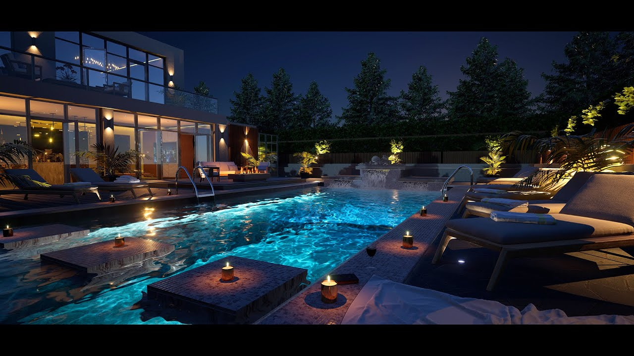 Download Relax By A Private Luxury Pool At An Exclusive Modern Mansion | Fall Asleep Fast | 8Hrs | 4K