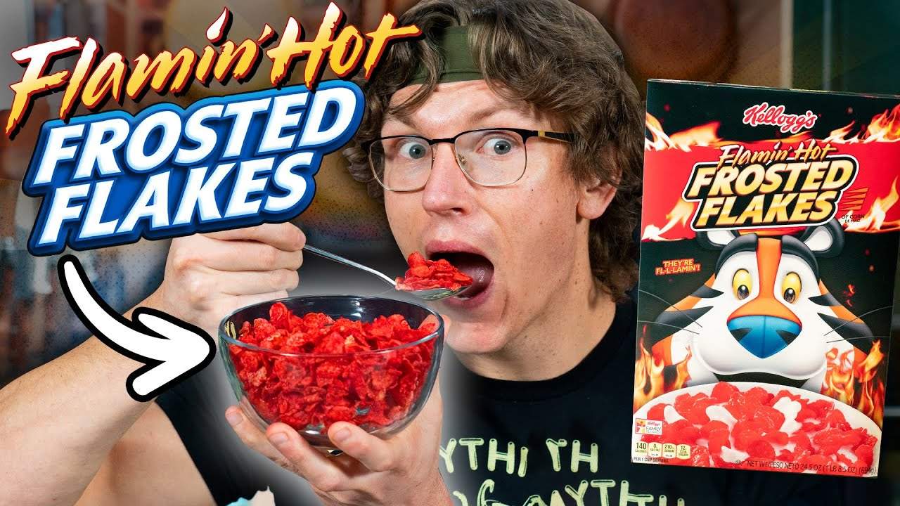 Flamin' Hot Frosted Flakes Taste Test (World's SPICIEST Cereal)