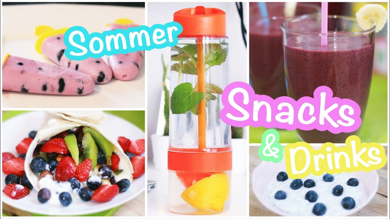 Obst Snacks Sommer Snack Drinks Ideen Chia Pudding Smoothie Obst Kebap Fittea Detox Kisu