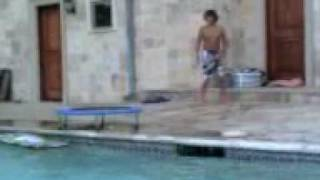 Jumping Off Trampling In To Pool