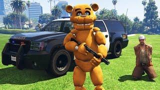 ANIMATRONICS PLAY AS COPS!: FREDDY'S 1st PATROL! (GTA 5 Mods FNAF Funny Moments)