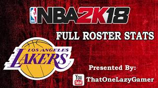 NBA 2k18 Los Angeles Lakers Full Roster stats