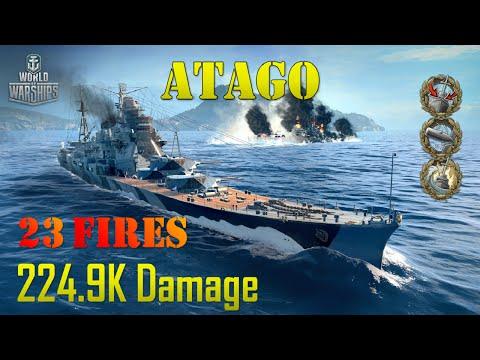 World of Warships - Atago - 2,590 Base XP, 23 Fires, 224.9K Dmg