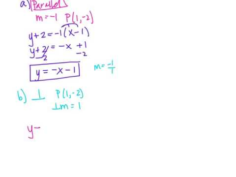 Find Parallel And Perpendicular Equations (slope Intercept)