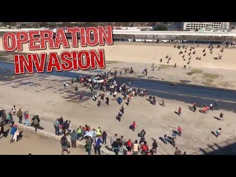 VIDEO: MIGRANTS RUSH BORDER, MET BY U.S. MILITARY