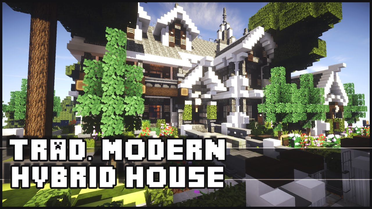 minecraft - traditional house w/ modern interior - youtube