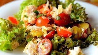 Вкусный салат с курицей почти цезарь )
