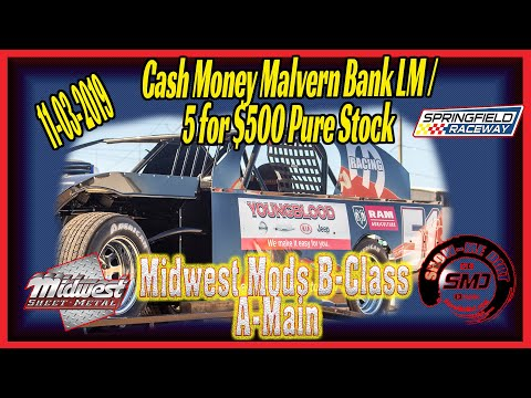 Midwest Modified Racing B➜Class A-Main Springfield Raceway 11➜03➜2019 Dirt Track Racing