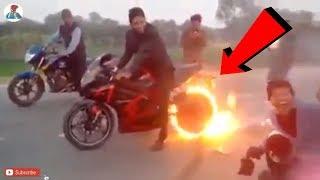 BIKE STUNTS 2018 | BIKE STUNTS ACCIDENT 2018 | PUNJABI MAD GUY | BURNING MOTORCYCLE |