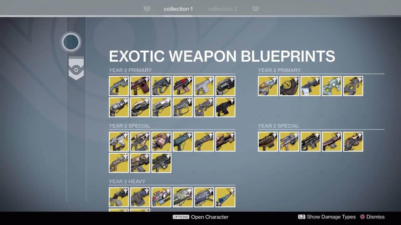 Every exotic weapon in year 2 and 1 destiny youtube