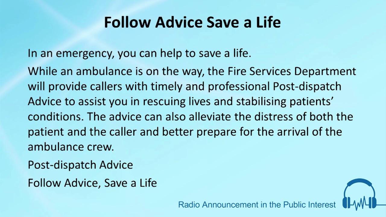 Follow Advice Save a Life