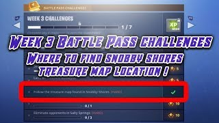 Where To Find Snobby Shores Treasure Map Location !! (Fortnite Week 3 Battle Pass Challenges)