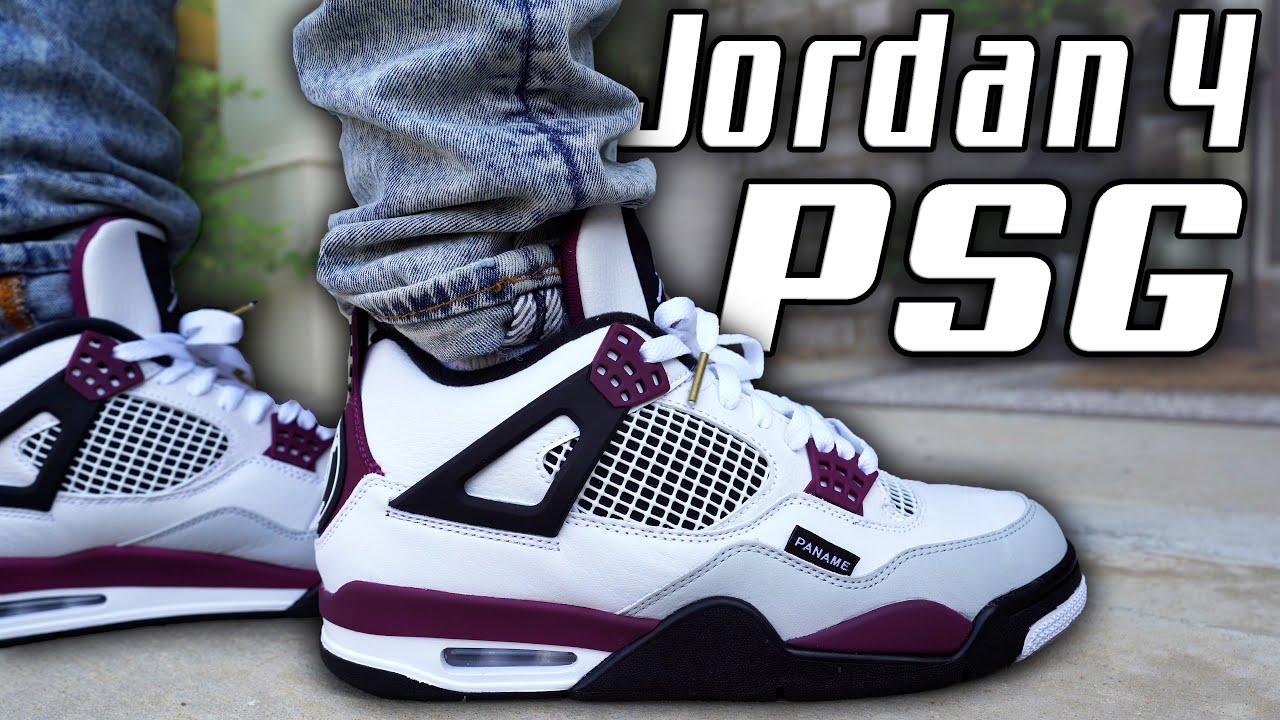 air jordan 4 psg paris saint germain review and on foot in 4k