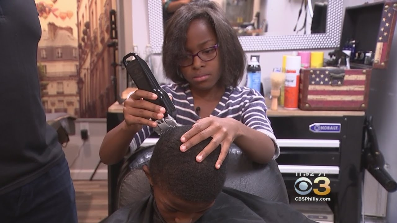 8-Year-Old Girl Learns To Cut Hair At Junior Barber Academy