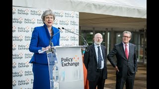 Prime Minister Theresa May speaks at Policy Exchange reception
