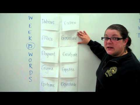 Week 15 Vocabulary Words Foldable Format