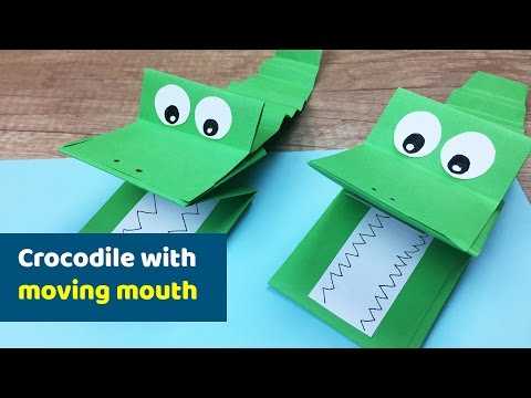 How to make Crocodile with MOVING jaws    Funny Craft for kids