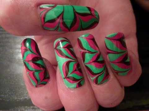christmas xmas flower water marble nail art design