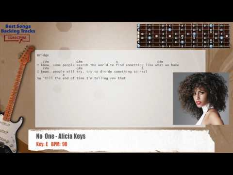 No One - Alicia Keys Guitar Backing Track with chords and lyrics