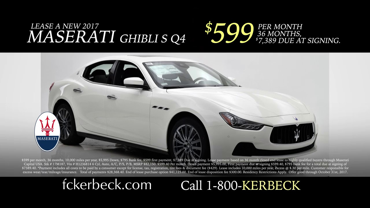 How Much Does A Maserati Cost 599 Per Month
