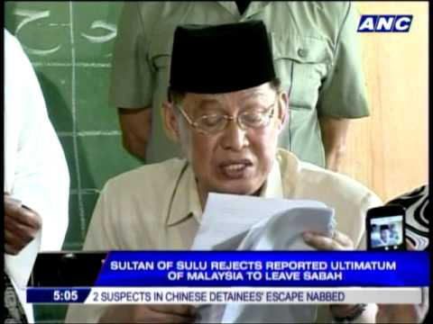Sulu sultan rejects Malaysia's ultimatum