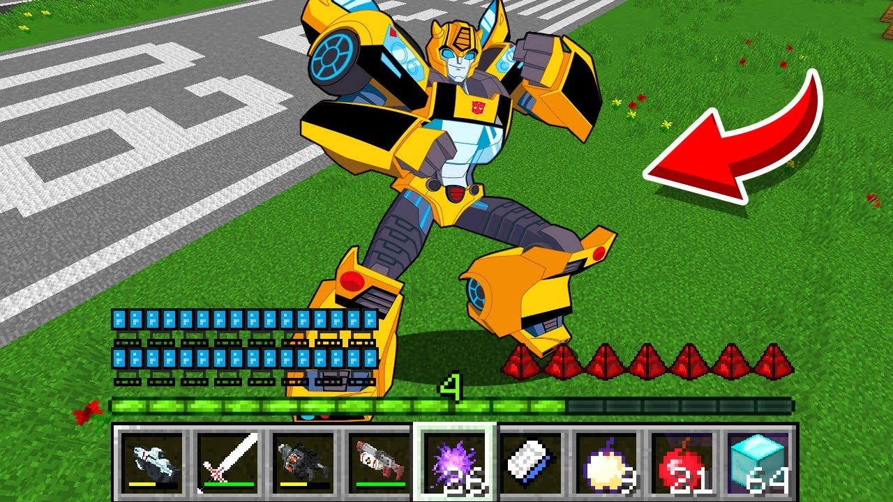 How to play TRANSFORMERS BUMBLEBEE in Minecraft! Real life family Battle NOOB VS PRO Animation