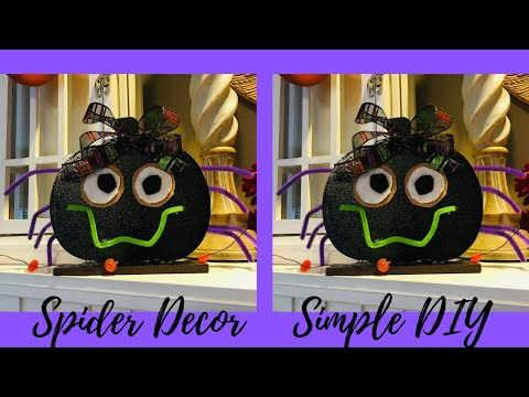 Dollar Tree Spider Decoration using a Pumpkin Sign DIY