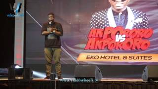 COMEDIAN, SEYI LAW CRACKS UP AUDIENCE DISCUSSING FAMILY ISSUES AT AKPORORO VS AKPORORO