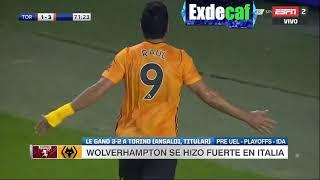 GOL - Raúl Jiménez   Torino FC 3-1 Wolverhampton Wanderers FC - Playoffs Ida UEFA Europa League