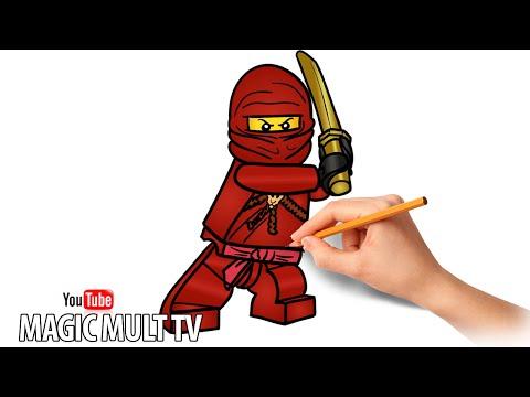 Как нарисовать Кая красного ниндзя -  LEGO NINJAGO