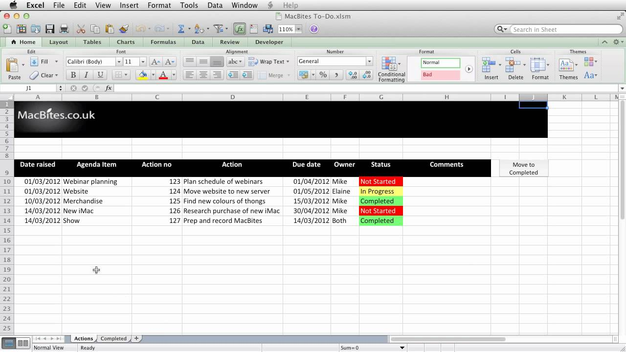 excel an automated action tracker youtube
