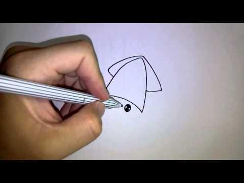 วาดการ์ตูนกันเถอะ สอนวาดการ์ตูน ปลาหมึกน้อย น่ารัก ง่ายๆ หัดวาดตามได้