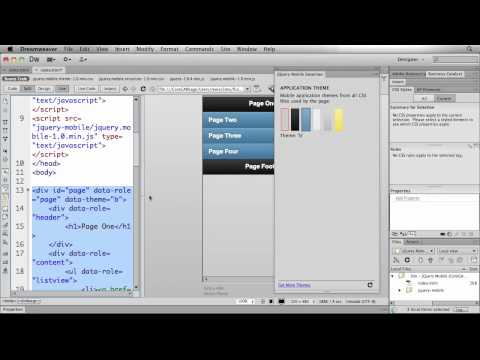 Using JQuery Mobile Swatches In Dreamweaver CS6 To Easily Skin Mobile Applications