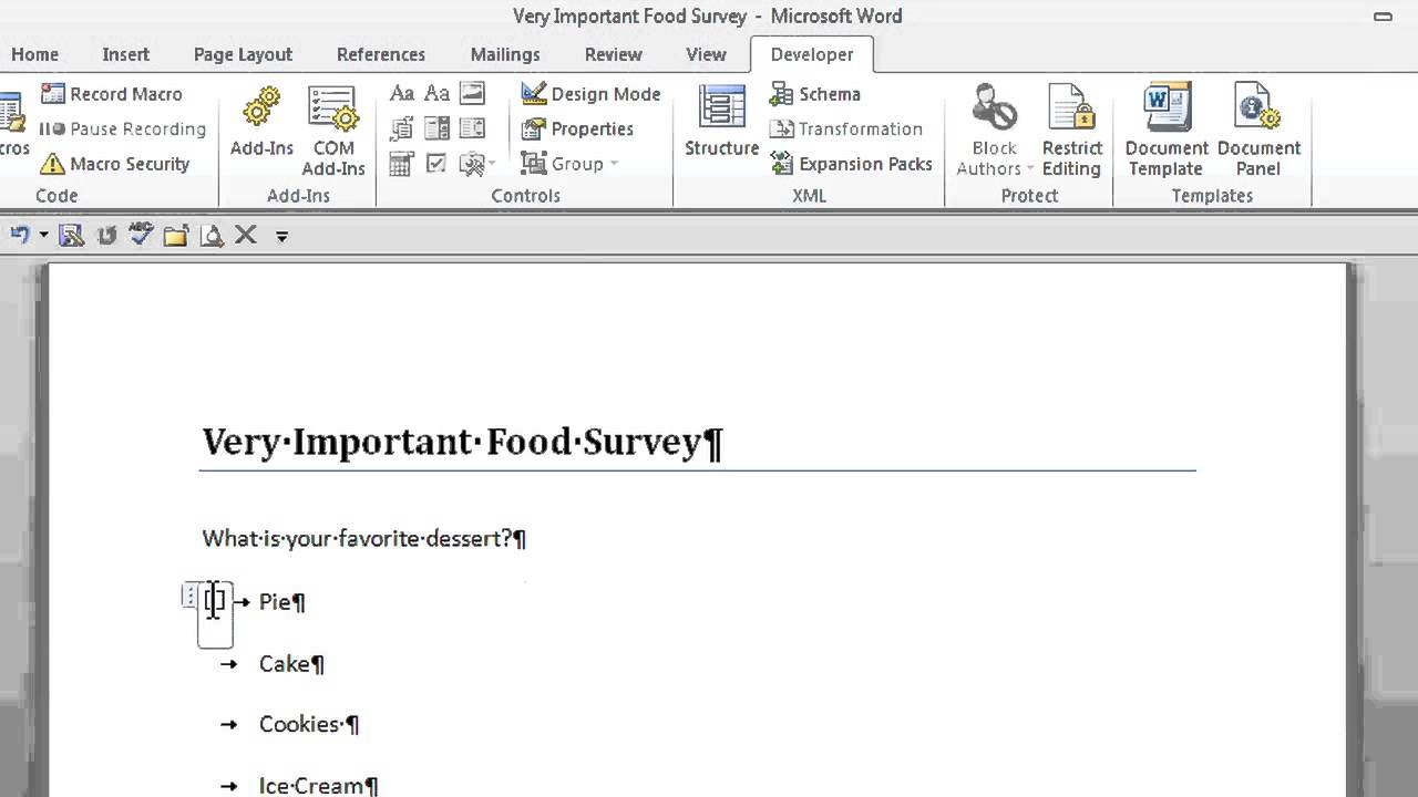 how to create a survey with radio buttons in microsoft word office