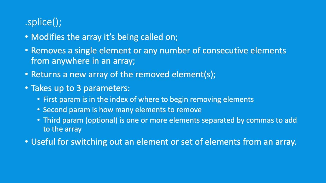 JavaScript Arrays - splice method - YouTube