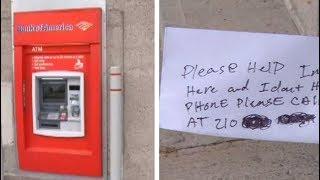 Man stuck inside ATM slips
