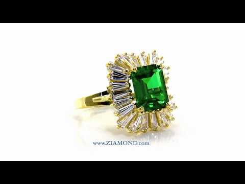 woman made emerald rectangle color ring high gold man quality luxury lady rose green crystal product