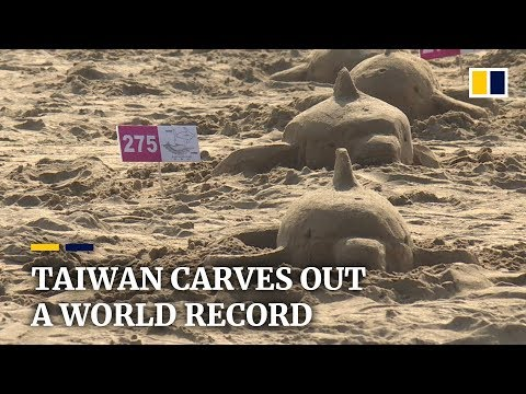287 people in Taiwan build sand sculptures simultaneously, breaking Guinness World Record