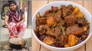 খড়ির চুলায় হাঁস ভুনা | Duck Curry | Hasher Mangsho Recipe | Cooking on Wood Fire Pit