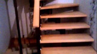 Лестница с поворотом на 180, ступени бук(, 2014-10-11T16:08:58.000Z)