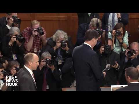 James Comey arrives to testify before the Senate Intelligence Committee