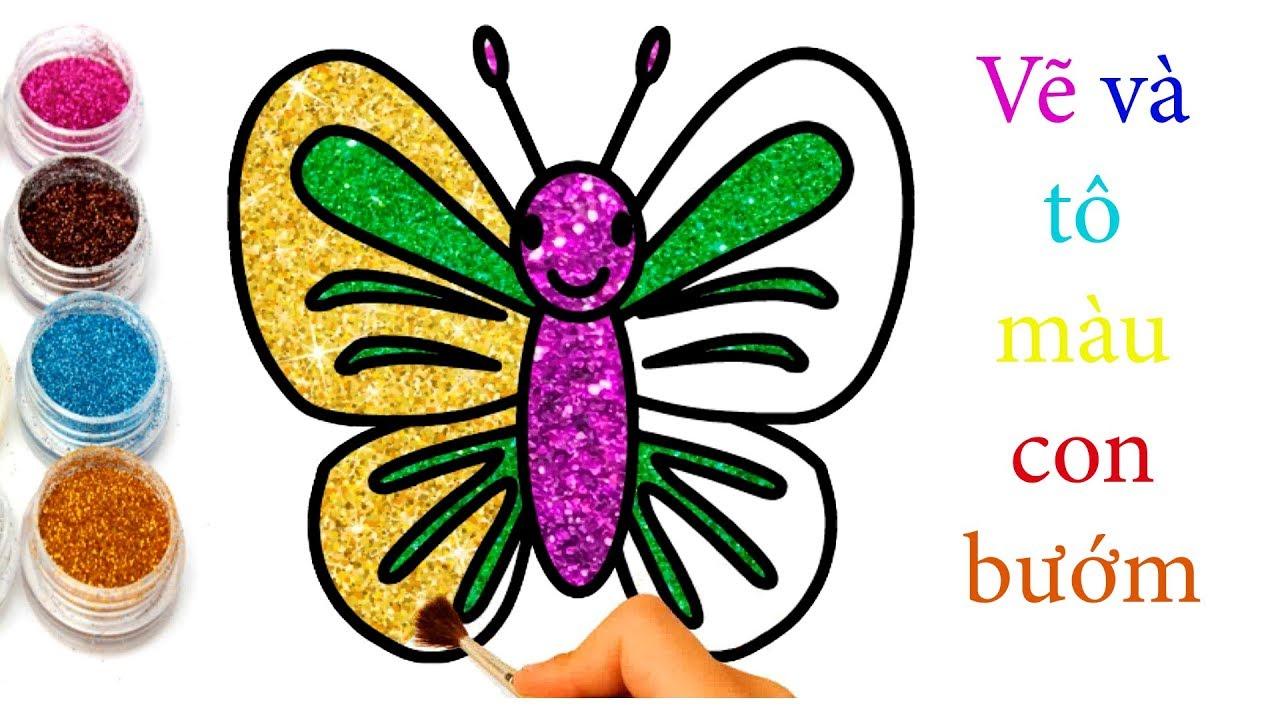 How to draw buterfly with Glitter Color | Vẽ con bướm | Tô màu con bướm