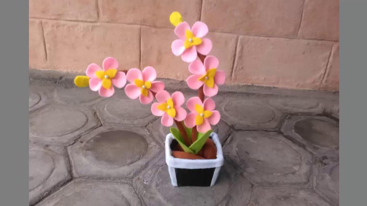 Cara Membuat Bunga Sakura Dari Kain Flanel Youtube